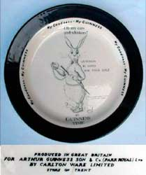 Fake Carlton Ware Guinness plate with white rabbit