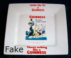 Fake Carlton Ware Guinness square tray