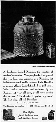 Rumidor advertisement from New Yorker 1929.