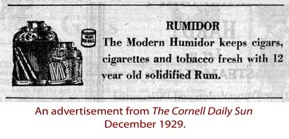 Rumidor advertisement from the Cornell Daily Sun December 1929