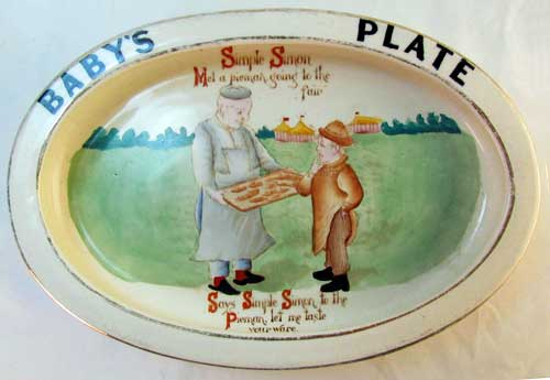 Carlton Ware Baby's Plate - Simple Simon met a pieman going to the fair.