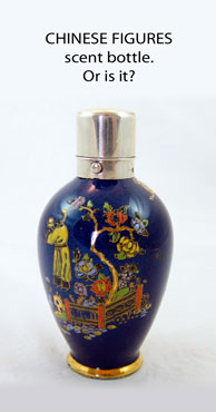CHINESE FIGURES bottle vase truncated and converted to a scent bottle.