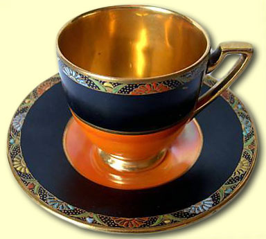 Carlton Ware PERSIAN BORDER BEAD coffee cup & saucer