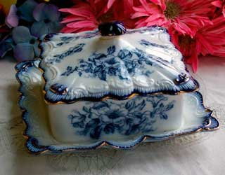 Carlton Ware flow blue Hibiscus cheese dish & cover