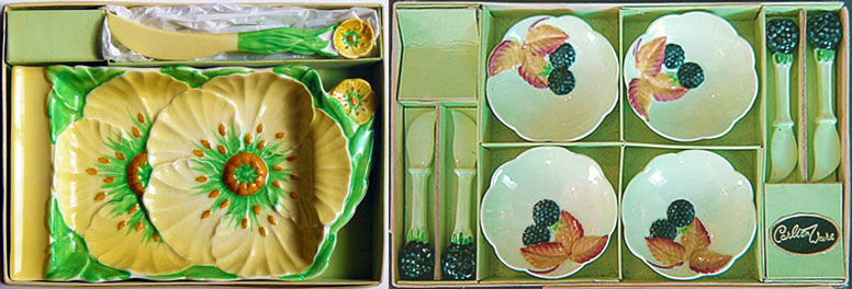 Carlton Ware. BUTTERCUP cheese plate & knife. BLACKBERRY butter pats & knives.