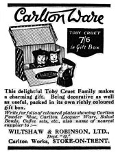 Carlton Ware Advertisement for boxed TOBY cruet