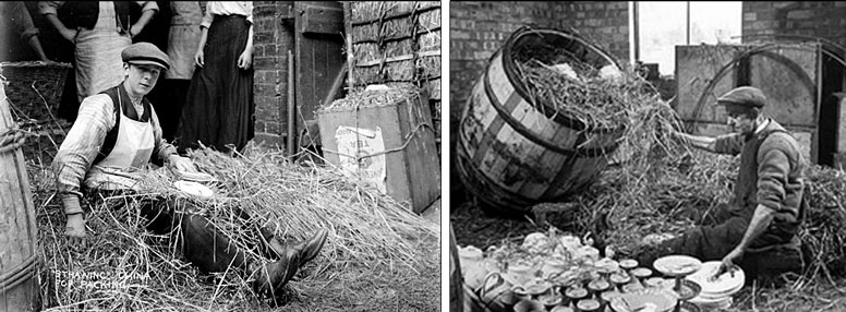 Packing pottery into teachests and barrels with straw
