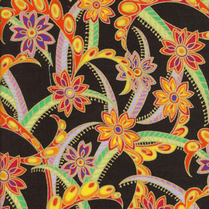 Fabric design based on Carlton Ware STAR FLOWER pattern 1