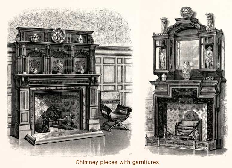 Chimney pieces with garnitures