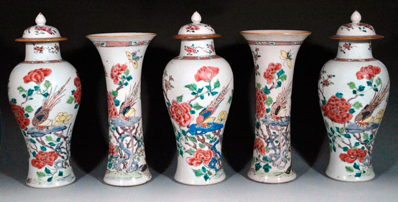 Garniture of Chinese Export Porcelain