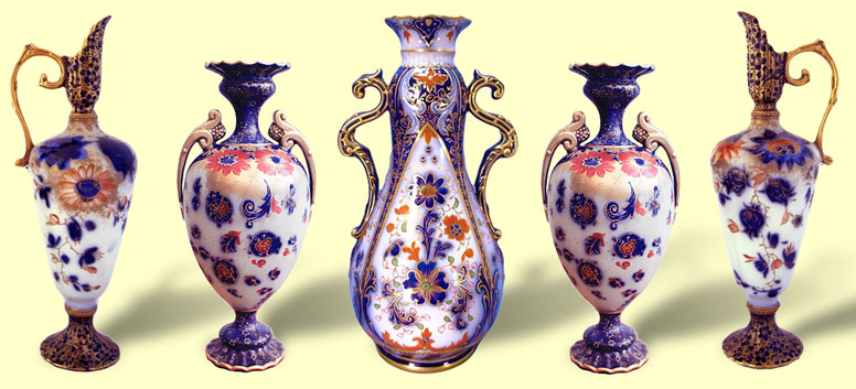 Carlton Ware garniture from the 1890s in the Imari palette