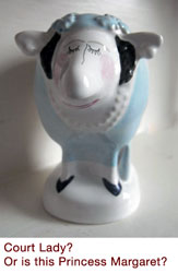 Court Lady, perhaps Princess Margaret, Carlton Ware sheep by Malcolm Gooding 1