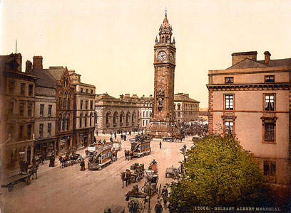 Postcard of the Albert Memorial clock tower, Belfast
