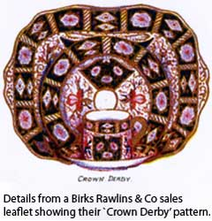 Crown Derby pattern from Birks Rawlins & Co sales leaflet.