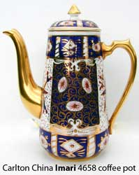 Carlton China Imari 4658 coffee pot.