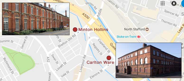 Map showing proximity of Minton Hollins & Carlton Ware
