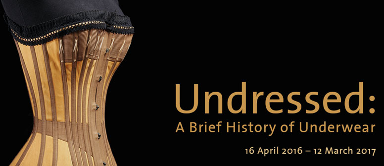 V&A advertising for Undressed A Brief History of Underwear