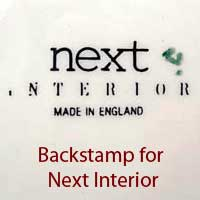 Next Interiors backstamp