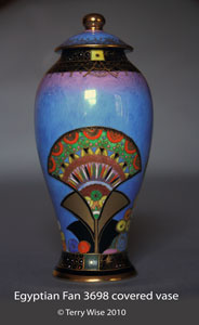 Egyptian Fan 3698 covered vase.