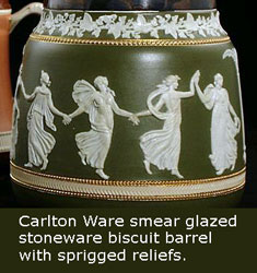 Carlton Ware stoneware biscuit barrel with sprigged reliefs