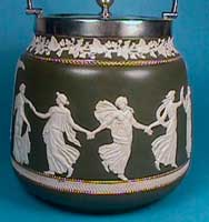 Biscuit barrel with sprigged reliefs