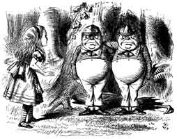 John Tenniel's illusration of Alice with Tweedledee & Tweedledum