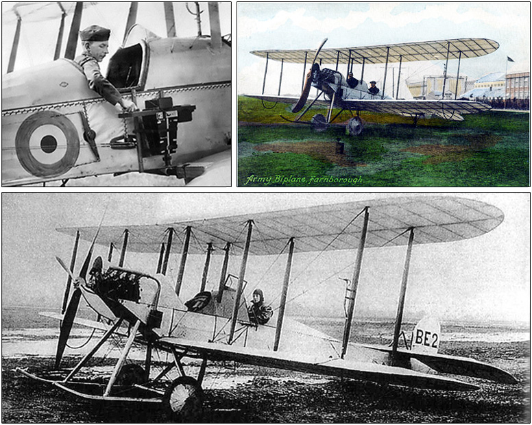 Observer adjusts his camera before a mission; Post card of a B.E.2 at Farnborough; B.E.2 biplane designed and developed by the Royal Aircraft Factory c.1912.