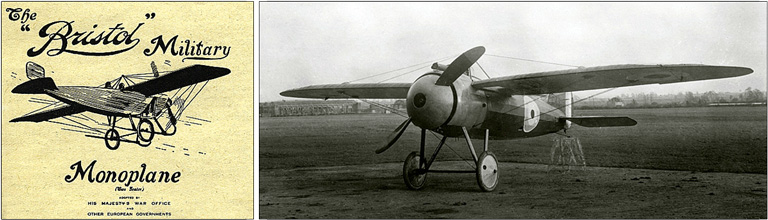 Advertisement for the Bristol Military Monoplane; Bristol M1C monoplane made by British  Colonial & Aeroplane Company Ltd.