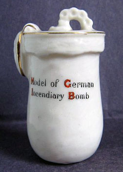 Carlton China Model of German Incendiary Bomb.