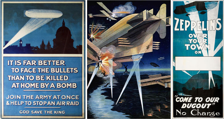 WW1 posters featuring Zeppelins