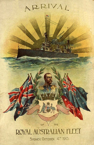 Programme cover for the arrival of the Australian Fleet in Sydney October 1913.