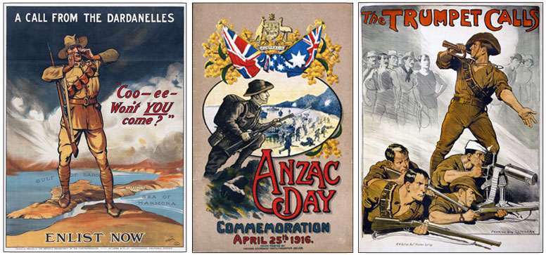 Two Australian recruitment posters showing soldiers wearing their slouch hat. Cover of printed souvenir of first Anzac Day observance, 1916.