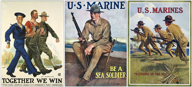 WW1 American recruitment posters, showing the use of the campaign or 'lemon squeezer' hat.
