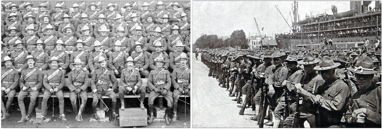 5th Battalion Canadian Mounted Rifles. WW1 American soldiers arrive in France on June 25, 1917.