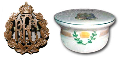 RFC cap badge and Carlton China model of a  Service Dress cap.
