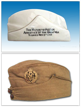 Carlton China model of a field service cap and Royal Flying Corp field service cap.