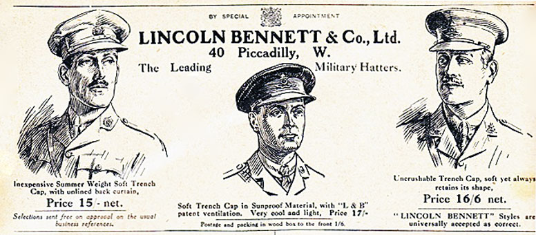 Military Hatter's 1916 advertisement for Trench Caps.
