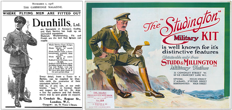 Advertisements for Military tailors from World War One.