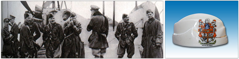 Group of RFC pilots 	on the Front, most wearing Field Service Caps and Carlton China cap.