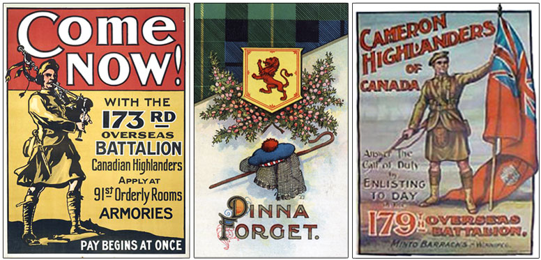 Recruitment posters for Canadian Highlanders Battalions.