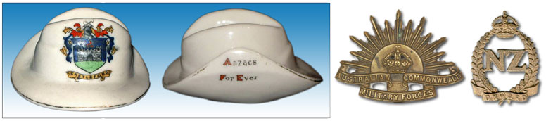Carlton China model of a slouch hat, printed Anzacs For Ever with cap badges of two of the Australian and New  				Zealand forces.