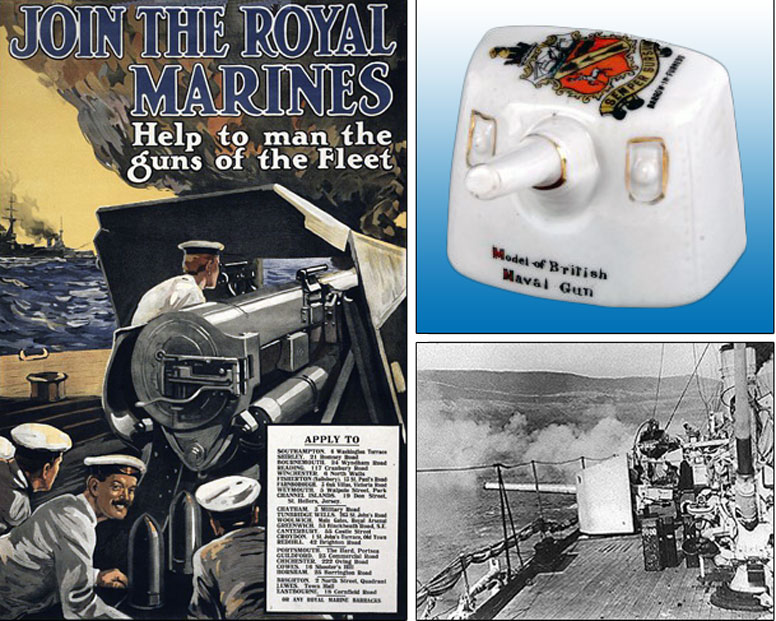 Recruitment poster for the Royal Marines  					from 1915. Carlton China model of a British Naval Gun.
