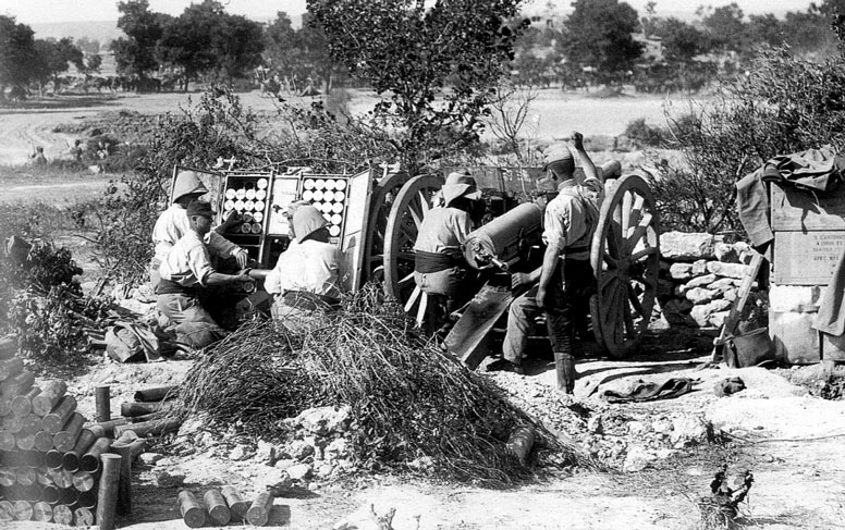 The French 75mm field gun at Cape Helles,  					Gallipoli peninsula, Turkey 1915.
