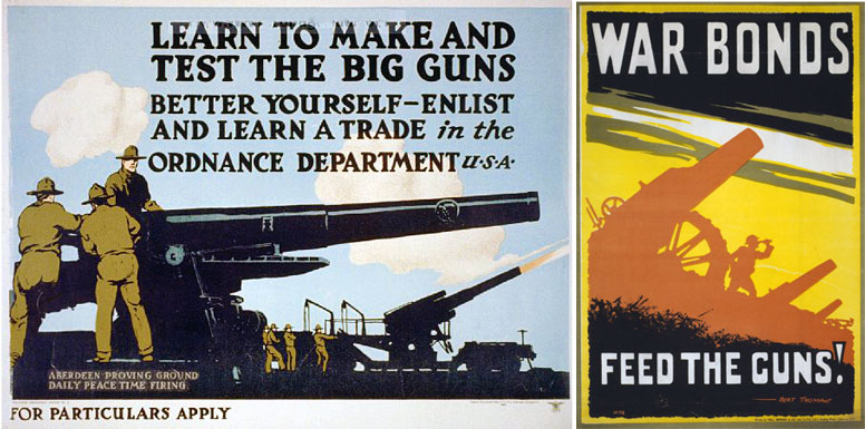 American ordnance recruitment poster & British poster from 1915.
