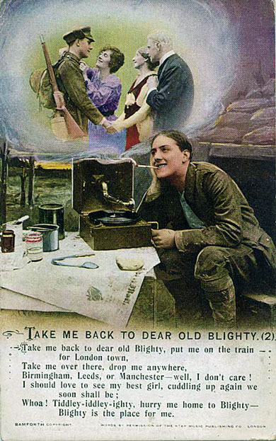 Bamforth & Co. Song Series postcard - Take me back to dear Old Blighty.