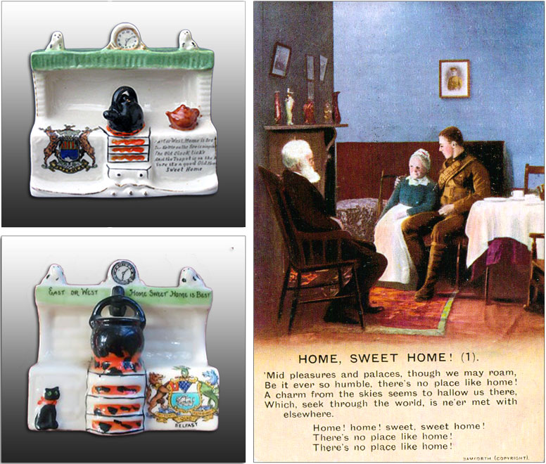 Carlton China model of a kitchen range with mantleshelf. Bamforth WW1 postcard Home Sweet Home