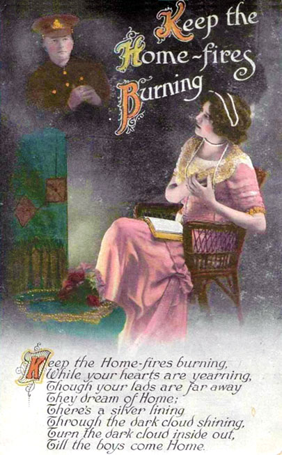 Bamforth & Co. Song Series postcard - Keep the Home Fires Burning.