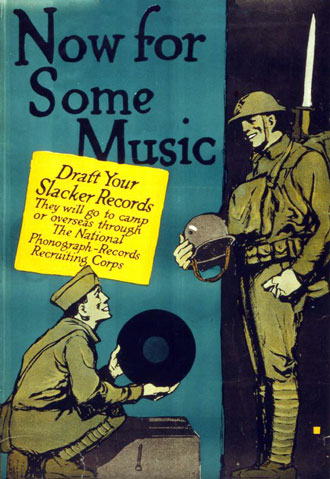 American poster from 1917 appealing for phonogrph records