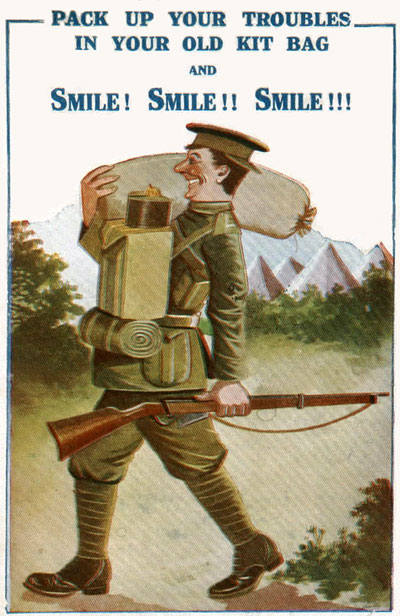 WW1 comical postcard - Pack up your troubles in your old kit-bag.