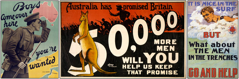 Australian World War One recruiting posters.
